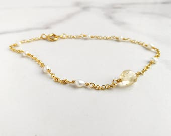 Petite Citrine bracelet with ivory Freshwater Pearls and delicate gold chain. Wedding jewellery