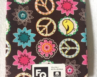 Fabric Quarters Brown Peace Floral 100% Cotton