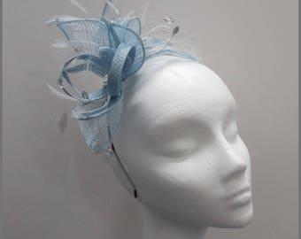 Small fascinator, pale blue headpiece, silver diamanté, wedding headpiece, headband fascinator, feather, special occasion, races fascinator