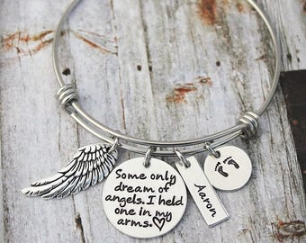 Memorial Bracelet - Sympathy Gift - Some Only Dream Of Angels I Held One In My Arms - Child Loss - Loss Of A Child - Footprints