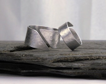 His and Hers Couples Rings, Set of TWO INSIDE Message Rings // Wide Silver Bands // Anniversary Gift Under 100