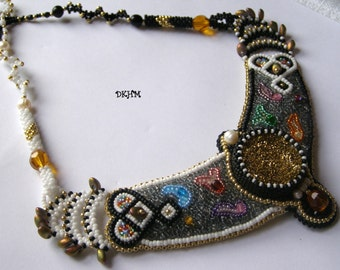 Embroidered and woven, multicolor collar with druzy agate and pearls, OOAK