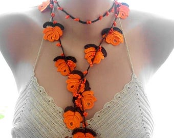 crochet necklace, orange crochet necklace, crochet jewelry, flower necklace, beaded necklace, gift for her