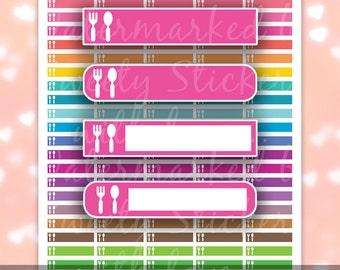 Erin Condren Meal Stickers + Printable Planner Stickers for MAMBI, Happy Planners - Instant Digital Download PDF