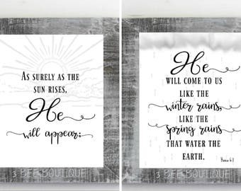 Hosea 6:3 Calligraphy Typography Christian Bible Scripture rustic home decor black white sign 8x10 5x7 wall art print printable verse gift