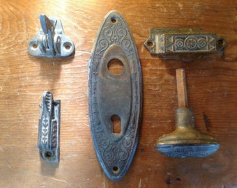 Lot of Antique Victorian Door Knob w/Backplate, and Various Hardware