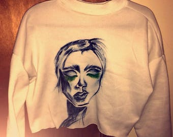 Hand Painted lady on sweater