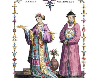 Chinese Wall Art Decor. Chinese Costumes from the Emperors Court Turquoise Rose Chinese Chinoiserie Art Print Illustrations Chinese Mandarin