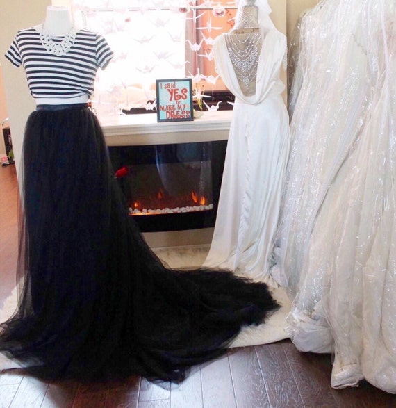 Black Tulle Skirt With Train Boho Bridal Dress Wedding Bridesmaids Removable