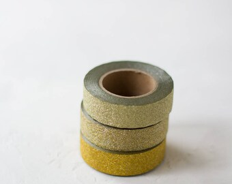 Gold Glitter Washi Tape Set - 3 pc - Gold / Pale Gold / Champagne