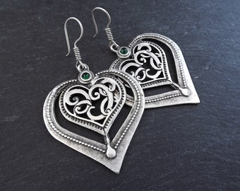 Folksy Heart Ethnic Silver Statement Earrings - Green - Authentic Turkish Style