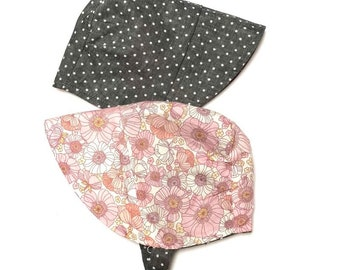 UB2 TICKLE teeny pink voile floral roses liberty of london inspired gray linen polka dots infant toddler sun hat, Urban Baby Bonnets