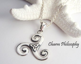 Celtic Triskelion Necklace - Triquetra Celtic Knot Pendant - 925 Sterling Silver Jewelry