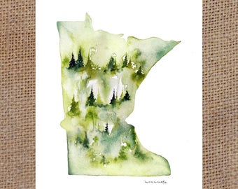 Green MN - Watercolor Print 8x10""