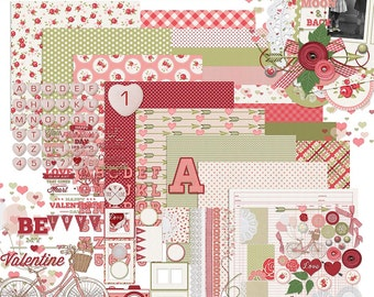 Tickled Pink - Valentines Day Digital Scrapbooking Kit and Word Art