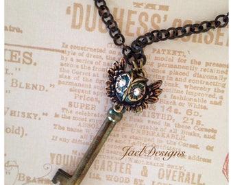 Steampunk OOAK Necklace - Vintage Brass Skeleton Key, Brass Owl, Rhinestone Eyes, Pendant Necklace