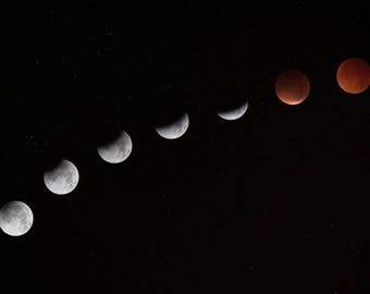 Lunar Eclipse Art Print Wall Decor Image with Detail & Vivid Colors - Unframed Poster
