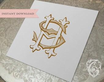 Vintage Wedding Monogram HS SH Digital Download S H