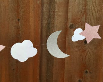 Moon Star and cloud garland,PICK COLORS,Baby Shower decorations,Star and moon garland,Moon and star banner,Cloud garland Star Moon