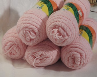 5 Skeins Vintage Grants 100% Dupont Orlon 4 Ply Worsted Weight Baby Pink Yarn
