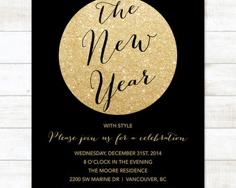 black gold new years party invitation, new years eve invitation invitation, black gold glitter invitation digital invite customizable