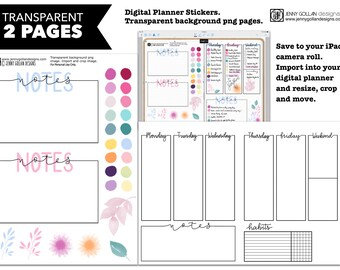 Digital Planner Stickers Notes Days Assorted