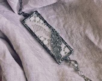 Vintage lace pendant necklace