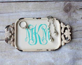 Monogrammed Antique White Pewter Ring Tray Holder Dish Wedding Anniversary Shower Gift