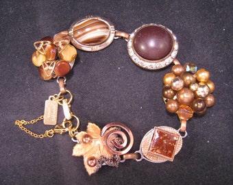 Vintage Earring Bracelet, Bridesmaid Gift, Wedding Bracelet, Brown, Gold, Reclaimed, Jennifer Jones, Cluster Earrings, Coupon - Miss Brown