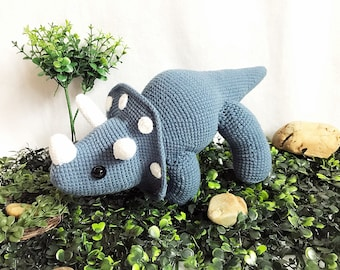 Crochet Cute Triceratops Dinosaur, nursery decor, Jurassic world amigurumi, Crochet Dinosaur, Handmade crochet animal
