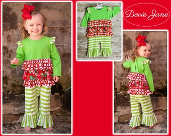 Girls Green Christmas Outfit, Toddler Girls Christmas Outfit, Baby Girls Christmas Outfit, Christmas Picture Outfit, Girls Ruffle Romper