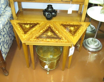 Petite Vintage Triangle Italian Made Inlay Tables (3)