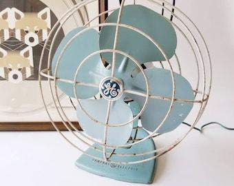 General Electric Blue Green Metal Desk Fan