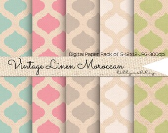 Vintage Linen Moroccan Digital Paper Pack of 5--12x12 JPG Linen Textured Papers for Scrapbook Web, Backgrounds, Photography, Cards, Etc!