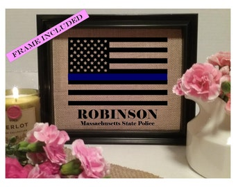 Thin Blue Line Police Officer Gift | Personalized Police Officer Gift | Thin Blue Line American Flag | Police Graduation | Police Academy