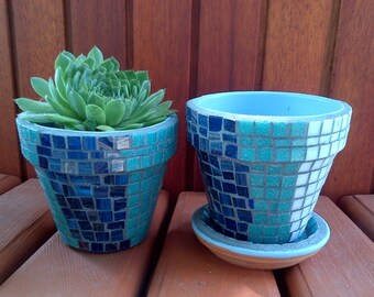 Herb Garden Kit Gift With Tile Mosaic Pots-Blue & White or custom colors