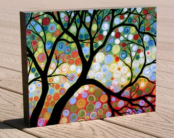 """Gift of art print ...8 x 10 modern tree print mounted on cradled birch panel...ready to hang...""""In the Limelight"""""""