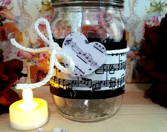 Sheet Music Decorated Mason Jar, Gift Idea for Music Teacher, Music Lover, Decorative Jar Light, Vase, Flameless Tealight Candle, Home Decor