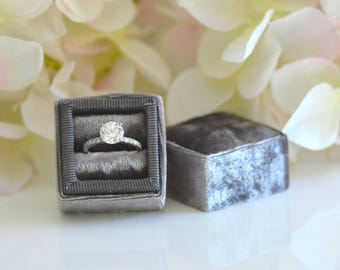 Dovetail Grey Vintage Velvet Ring Box Grossgrain Ribbon Handmade for Wedding Rings, Engagement Rings, Fine Jewelry