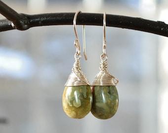 Green Stone Earring, Rhyolite Jasper Earrings, Wire Wrapped Earring, Natural Stone Jewelry