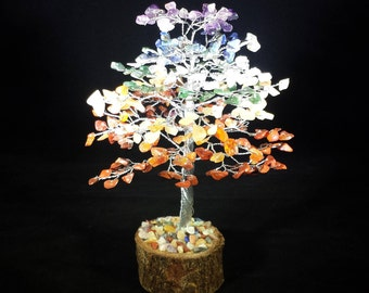 Natural 7 CHAKRA STEP STYLE Gemstone Chip Tree With 300 Stones Crystal Tree Of Life