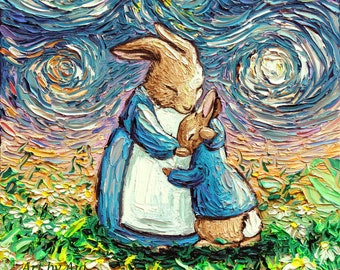 Bunny Rabbit Art Print - storybook nursery animal wall decor Mother and child With Love by Aja 5x5, 8x8, 10x10, 12x12, 20x20, and 24x24