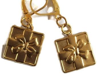 Wrapped present raw brass handmade earrings for pierced ears nickel free
