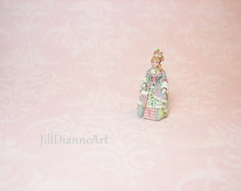 "Victorian Doll figure hand-painted Just under 1""- 144th scale Doll's doll add sculpted roses- Jill Dianne Dollhouse Miniatures"