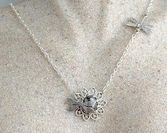 Dragonfly Necklace, Dragonfly Jewelry, Black Pendant, Hematite Necklace, Woodland, Hematite Pendant, Black Diamond, Dragonfly Jewellery