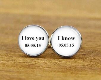I Love You, I Know Cufflinks, Film Fans Gift, Custom Wedding Cuff Links, Round, Square Cufflinks, Tie Clips, Star Cufflinks, Groom Cuff Link