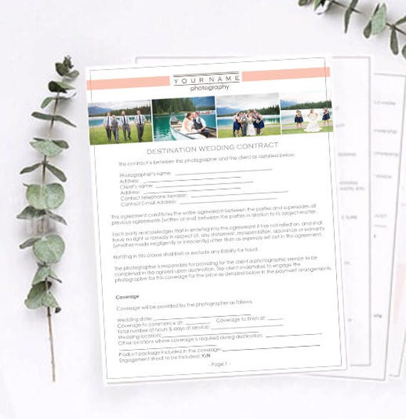 Destination Wedding Photography Contract Photography Release