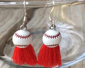 St. Louis Cardinals Inspired Baseball Tassel Earrings