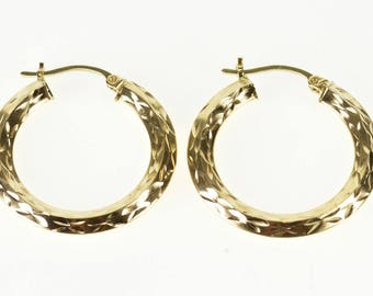 14k Diamond Cut Patterened Ridged Squared Hoop Earrings Gold