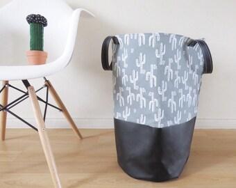 Panier de Rangement XL Cactus gris et noir avec cuirette, panier à linge, rangement jouet, bac de stockage, rangement chambre d'enfant
